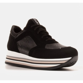 Marco Shoes Light sneakers on a thick sole made of natural leather black 1