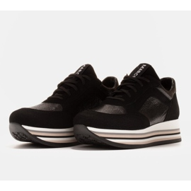 Marco Shoes Light sneakers on a thick sole made of natural leather black 3