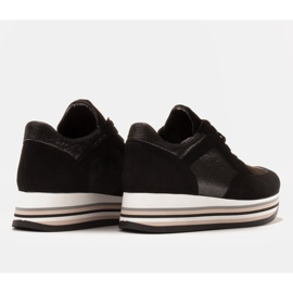 Marco Shoes Light sneakers on a thick sole made of natural leather black 6