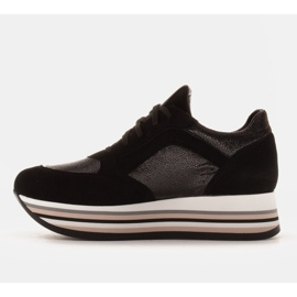 Marco Shoes Light sneakers on a thick sole made of natural leather black 4