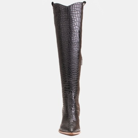 Marco Shoes High boots for women cowboy boots, croco pattern black 2