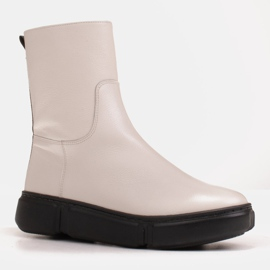 Marco Shoes Sporty white ankle boots made of soft natural leather 2