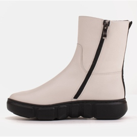Marco Shoes Sporty white ankle boots made of soft natural leather 4