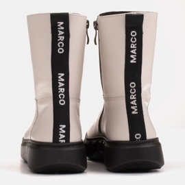 Marco Shoes Sporty white ankle boots made of soft natural leather 5