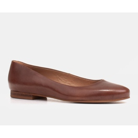 Marco Shoes Ballerinas made of brown grain leather, hand polished 1