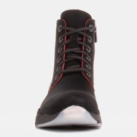 Marco Shoes Sporty women's nubuck boots with red inserts black 1