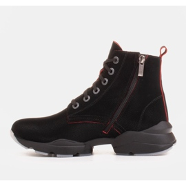 Marco Shoes Sporty women's nubuck boots with red inserts black 2