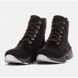 Marco Shoes Sporty women's nubuck boots with red inserts black 3