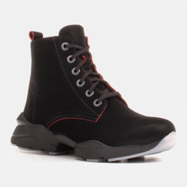 Marco Shoes Sporty women's nubuck boots with red inserts black 6