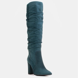 Marco Shoes Green high, crinkled boots made of natural suede 1