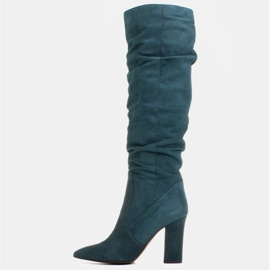 Marco Shoes Green high, crinkled boots made of natural suede 2