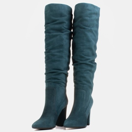 Marco Shoes Green high, crinkled boots made of natural suede 5