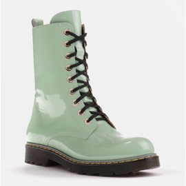 Marco Shoes High ankle boots, boots tied on a translucent sole green 1