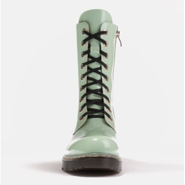 Marco Shoes High ankle boots, boots tied on a translucent sole green 2