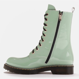 Marco Shoes High ankle boots, boots tied on a translucent sole green 3