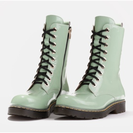 Marco Shoes High ankle boots, boots tied on a translucent sole green 4