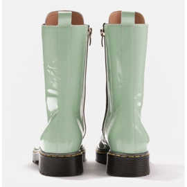 Marco Shoes High ankle boots, boots tied on a translucent sole green 5