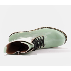 Marco Shoes High ankle boots, boots tied on a translucent sole green 7