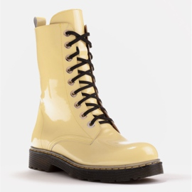 Marco Shoes High ankle boots, boots tied on a translucent sole yellow 1