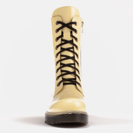 Marco Shoes High ankle boots, boots tied on a translucent sole yellow 2