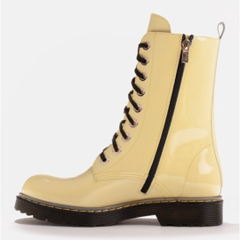 Marco Shoes High ankle boots, boots tied on a translucent sole yellow 3