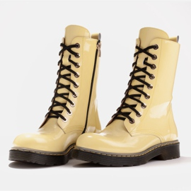 Marco Shoes High ankle boots, boots tied on a translucent sole yellow 4