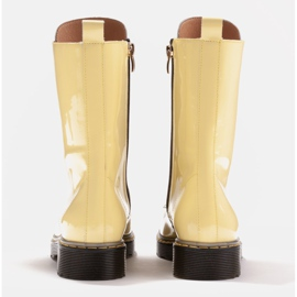 Marco Shoes High ankle boots, boots tied on a translucent sole yellow 5
