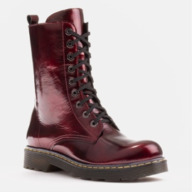 Marco Shoes High ankle boots, boots tied on a translucent sole red 1