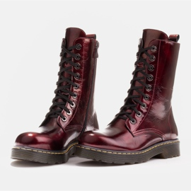 Marco Shoes High ankle boots, boots tied on a translucent sole red 4