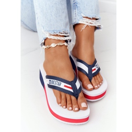 Women's flip-flops on the wedge Big Star HH274A093 White navy blue 4