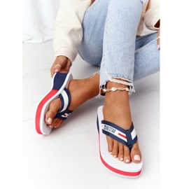 Women's flip-flops on the wedge Big Star HH274A093 White navy blue 3