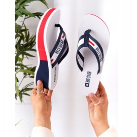 Women's flip-flops on the wedge Big Star HH274A093 White navy blue 2