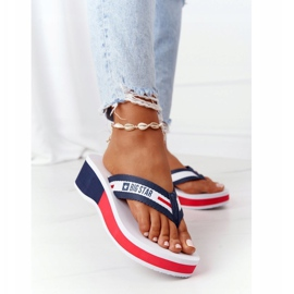 Women's flip-flops on the wedge Big Star HH274A093 White navy blue 1