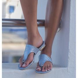 Marco Shoes Flat leather flip-flops with metallic heel blue 8