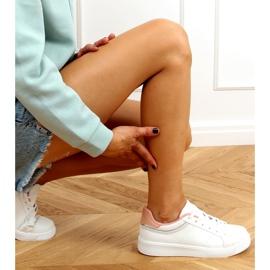White women's sneakers B0-686 WHITE / PINK 2