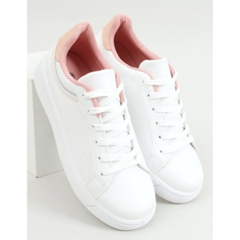 White women's sneakers B0-686 WHITE / PINK 1