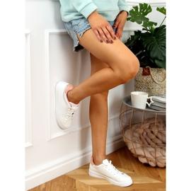 White women's sneakers B0-686 WHITE / PINK 3