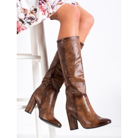 Seastar Snake Print boots brown 2
