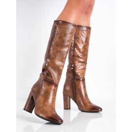 Seastar Snake Print boots brown 1