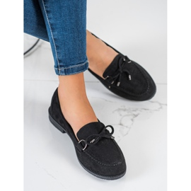 SHELOVET Suede Loafers With A Bow black 2
