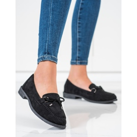 SHELOVET Suede Loafers With A Bow black 3