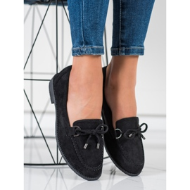 SHELOVET Suede Loafers With A Bow black 1