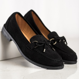 SHELOVET Suede Loafers With A Bow black 4