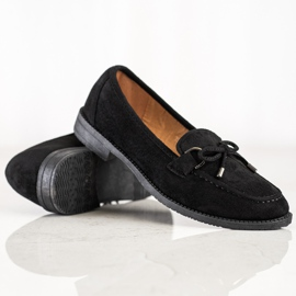 SHELOVET Suede Loafers With A Bow black 5