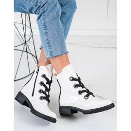 VINCEZA lace-up boots white 1