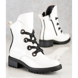 VINCEZA lace-up boots white 3