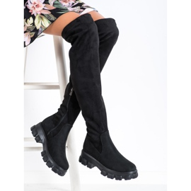SHELOVET Suede Platform Boots black 1
