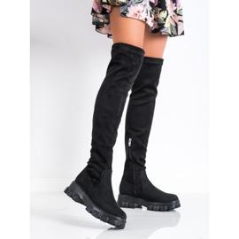 SHELOVET Suede Platform Boots black 2
