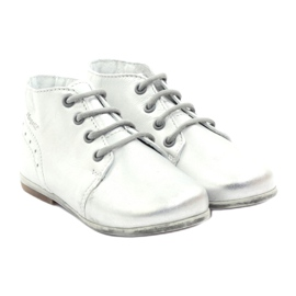 Silver Hugotti tied leather shoes grey 4
