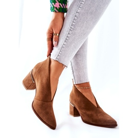Leather Boots On High Heel Laura Messi Brown 2344 6